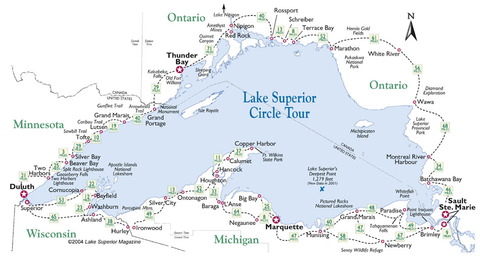 Map of Lake Superior Circle Tour